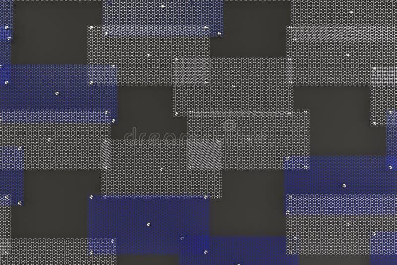 Białe i błękitne kółkowe kratownicy na zmroku siwieją tło ilustracja wektor