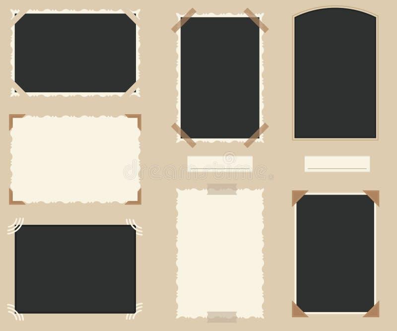 Białe i Czarne Puste Retro fotografie Ustawiać wektor ilustracji