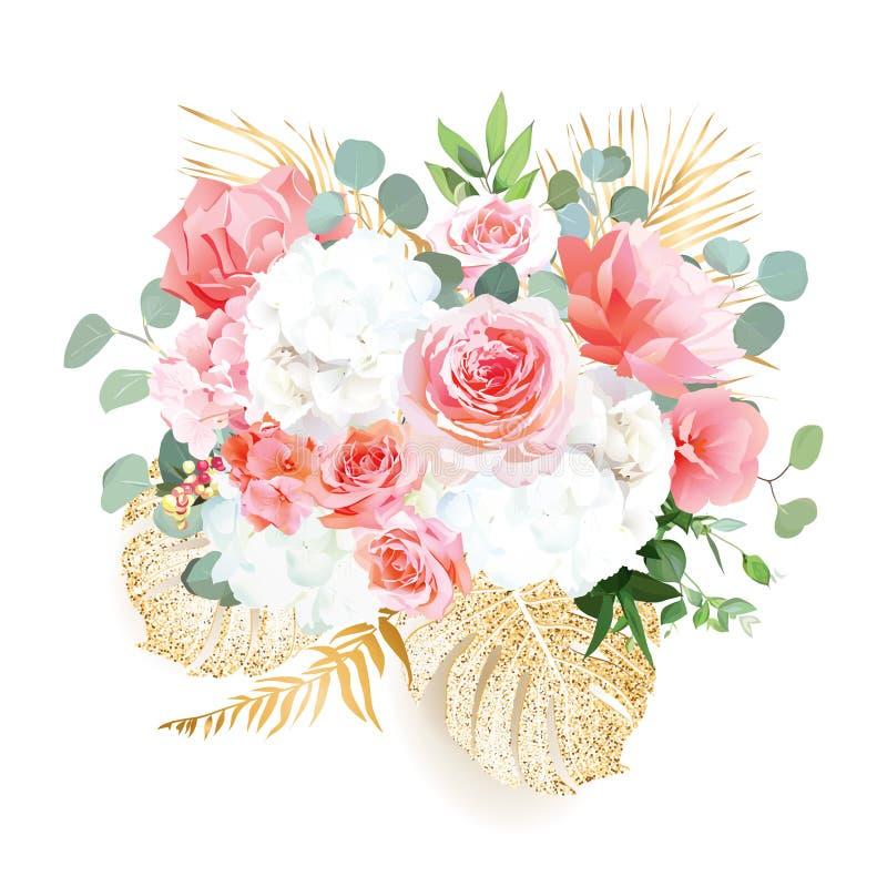 Białe i koralowe róże hortensji, pomarańczowych i brzoskwiniowych, goździk ilustracja wektor