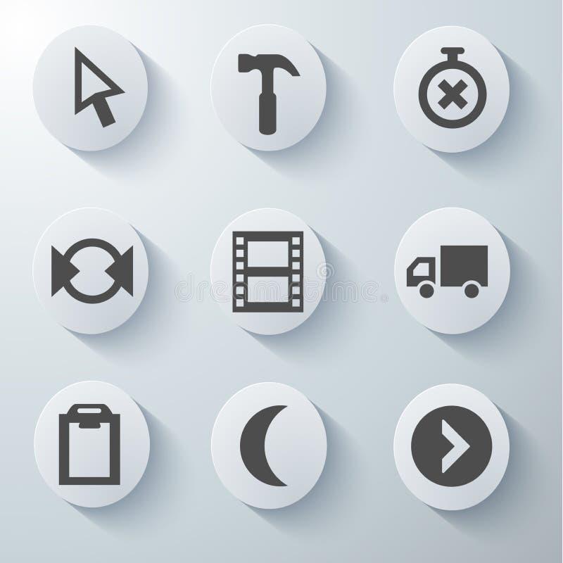 Białe ikony ustawiać royalty ilustracja