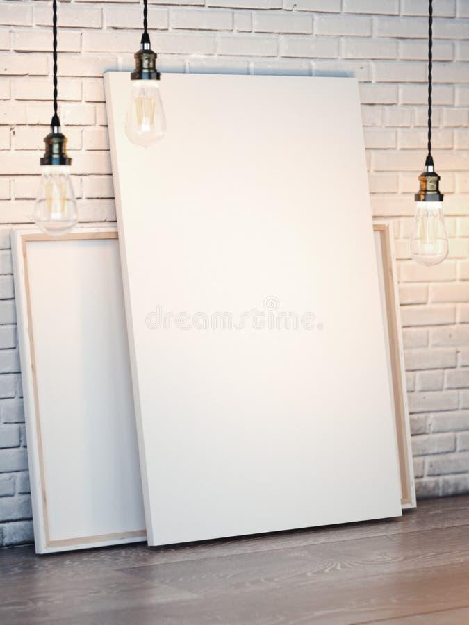 Białe kanwy z żarówkami na ściana z cegieł świadczenia 3 d zdjęcia stock