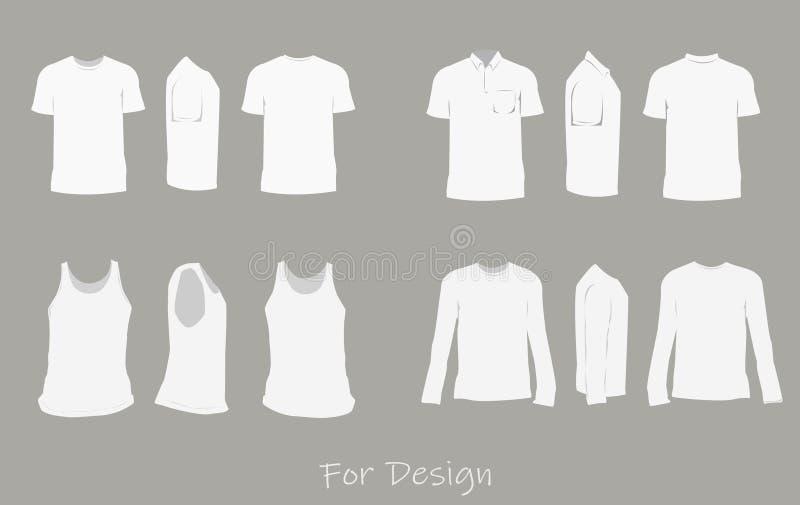 Białe koszula dla projektów szablonów stać na czele, tylni i boczni widoki wektorowi, ilustracji