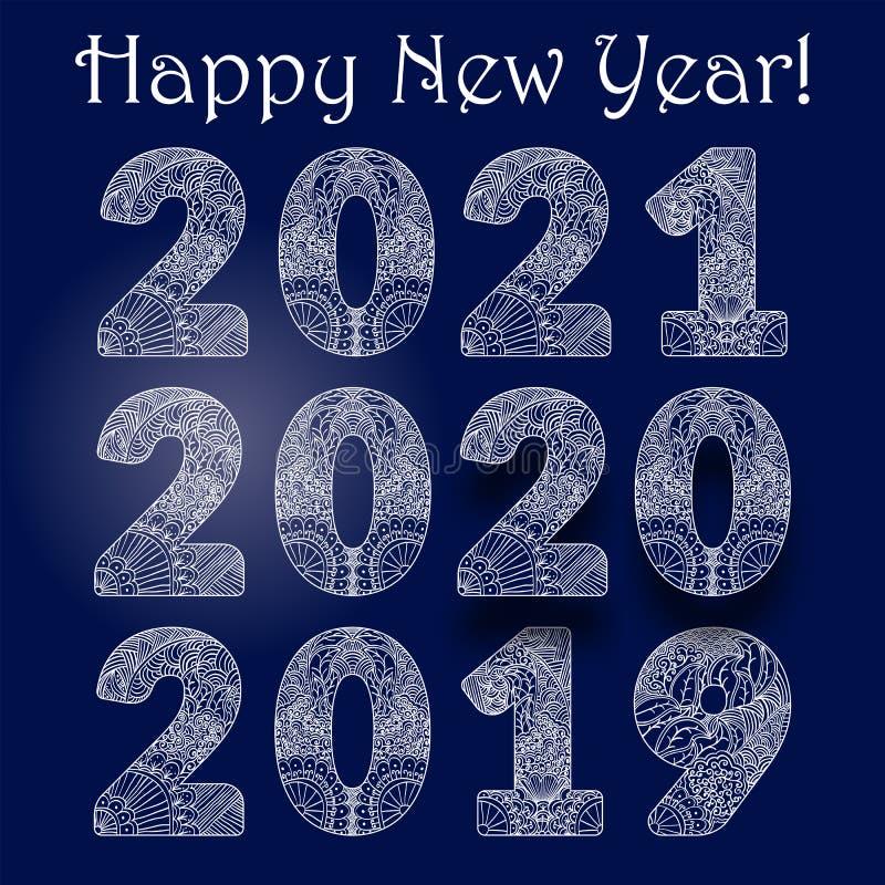 Białe, ozdobne, malowane figurki szczęśliwe noworoczne powitania na ciemnoniebieskim tle Gratuluję tekstu liczb 2019, 2020, royalty ilustracja