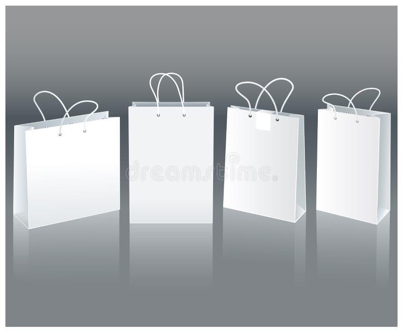 Białe papierowe torby royalty ilustracja