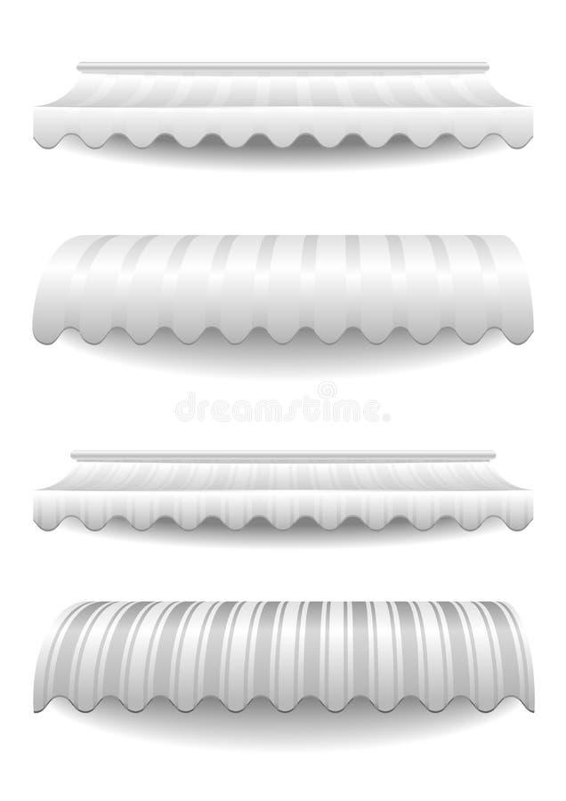 Białe pasiaste markizy royalty ilustracja