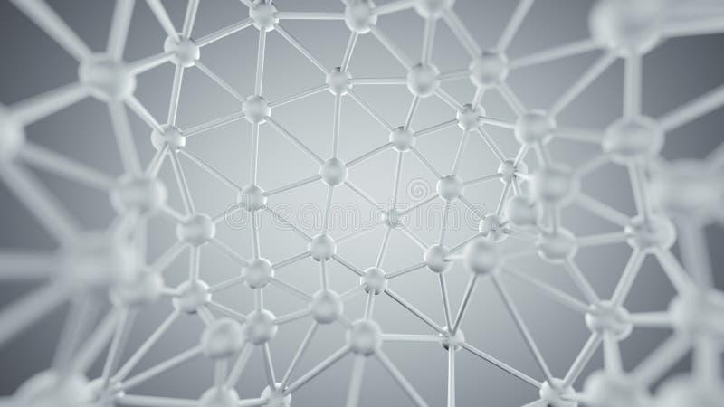 Białe plexus linie i guzek sieci abstrakcjonistyczny 3D rendering royalty ilustracja