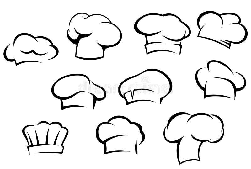 Białe szef kuchni nakrętki i kapelusze ilustracja wektor