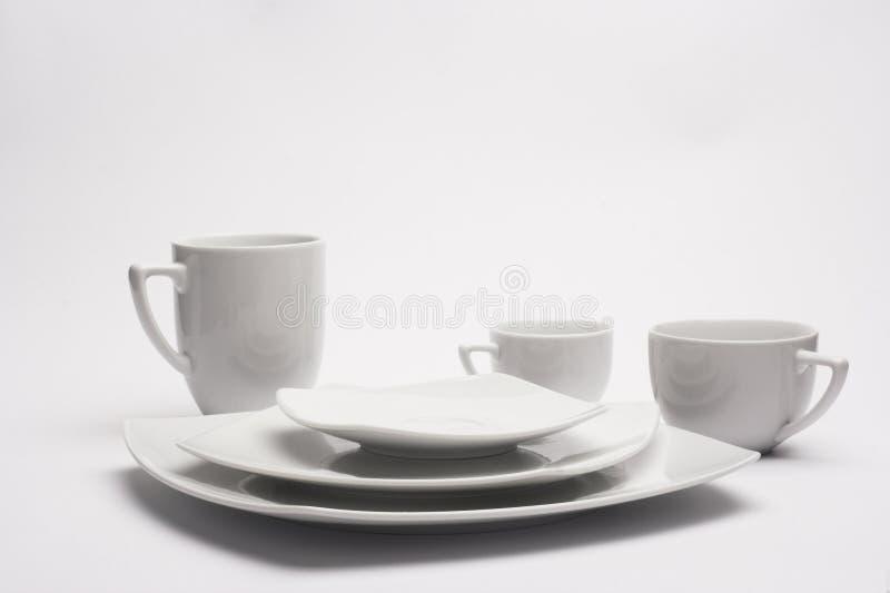 białe talerze filiżankę obraz stock