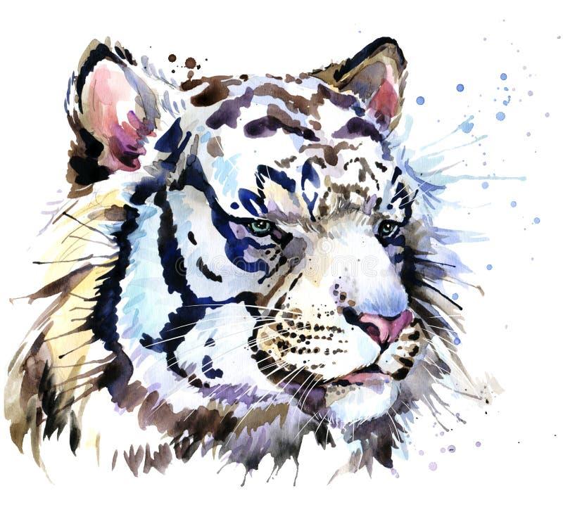 Białe tygrysie koszulek grafika, tygrys przyglądają się ilustrację z pluśnięcia akwarela textured tłem ilustracja wektor