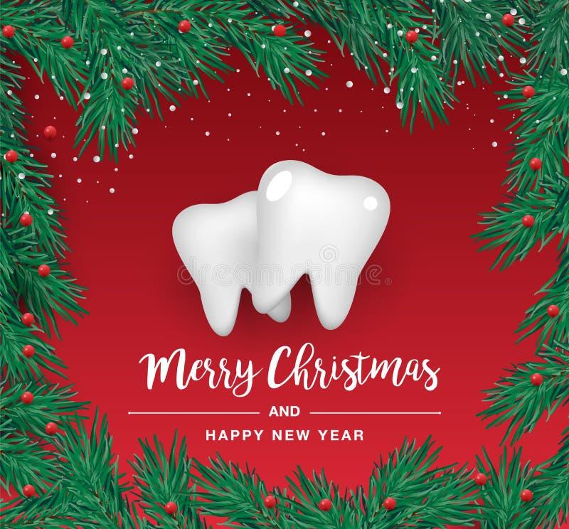 Białe ząb ikony w formie choinki na czerwonym tle Wektorowi elementy dla nowego roku ilustracji