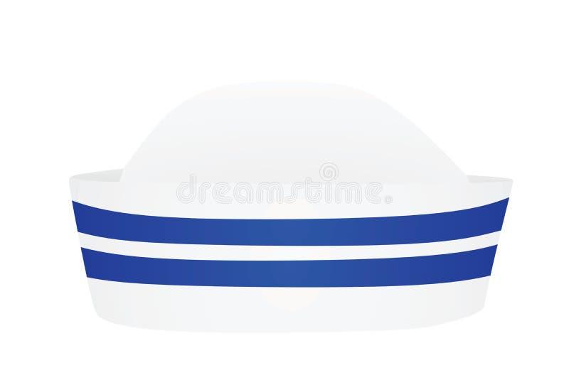 Białego żeglarza kapeluszowi błękitni lampasy royalty ilustracja