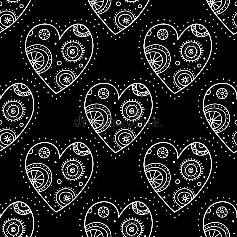 Białego boho ornamentacyjni serca na czarnego tła bezszwowym wzorze royalty ilustracja
