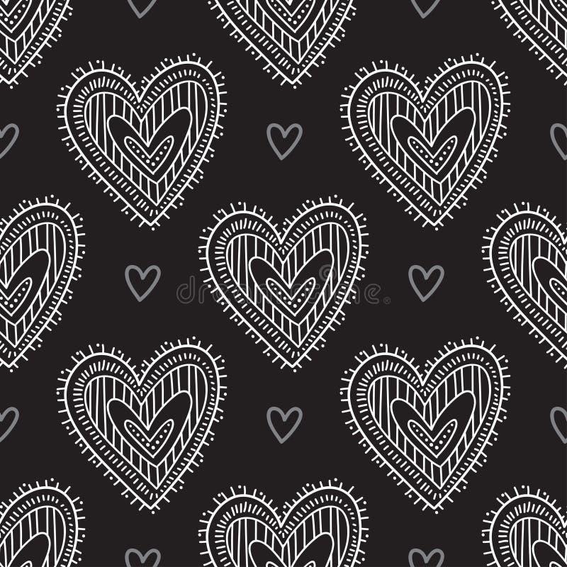 Białego boho ornamentacyjni serca na czarnego tła bezszwowym wzorze ilustracja wektor
