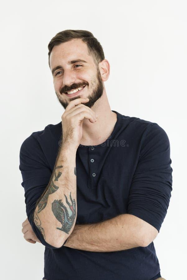 Białego brodatego faceta positivity rozochocony portret obraz royalty free