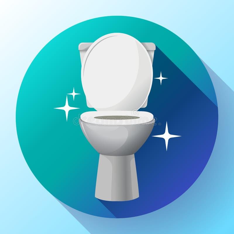 Białego ceramics toaletowego pucharu wektorowa ikona nowożytna toaleta w mieszkanie stylu również zwrócić corel ilustracji wektor ilustracja wektor