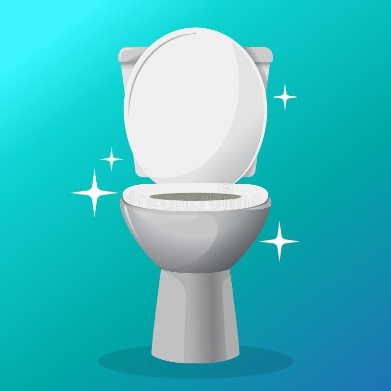 Białego ceramics toaletowego pucharu wektorowa ikona nowożytna toaleta w mieszkanie stylu również zwrócić corel ilustracji wektor ilustracji