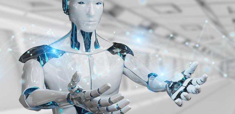 Białego człowieka robot używać cyfrowej sieci związku 3D rendering ilustracja wektor