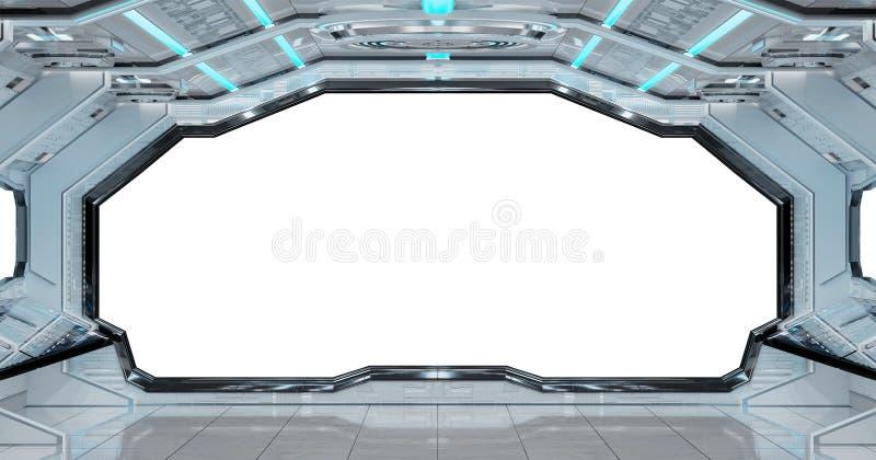 Białego czystego statku kosmicznego tła 3D wewnętrzny rendering ilustracji