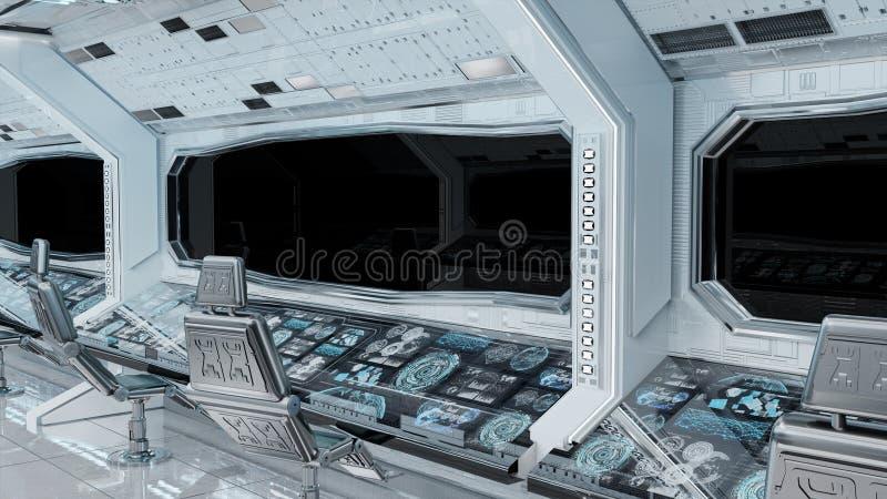 Białego czystego statku kosmicznego tła 3D wewnętrzny rendering ilustracja wektor