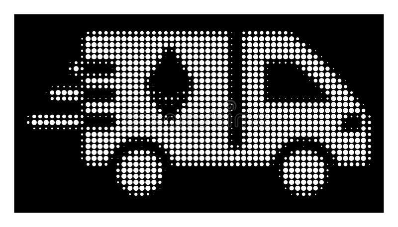 Białego Halftone Ethereum Doręczeniowego samochodu Ekspresowa ikona ilustracja wektor
