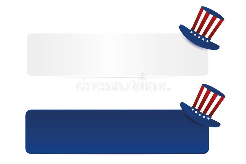 Białego i błękitnego papieru etykietka z kapeluszem w flaga amerykańska stylu usa ilustracji