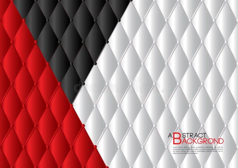 Białego i czerwonego abstrakcjonistycznego tła wektorowa ilustracja, okładkowego szablonu układ, biznesowa ulotka, Rzemienny teks ilustracja wektor