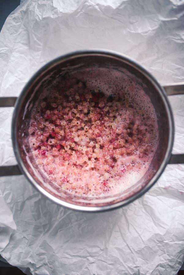 Białego i czerwonego rodzynku jagody gotuje się w garnku obrazy royalty free