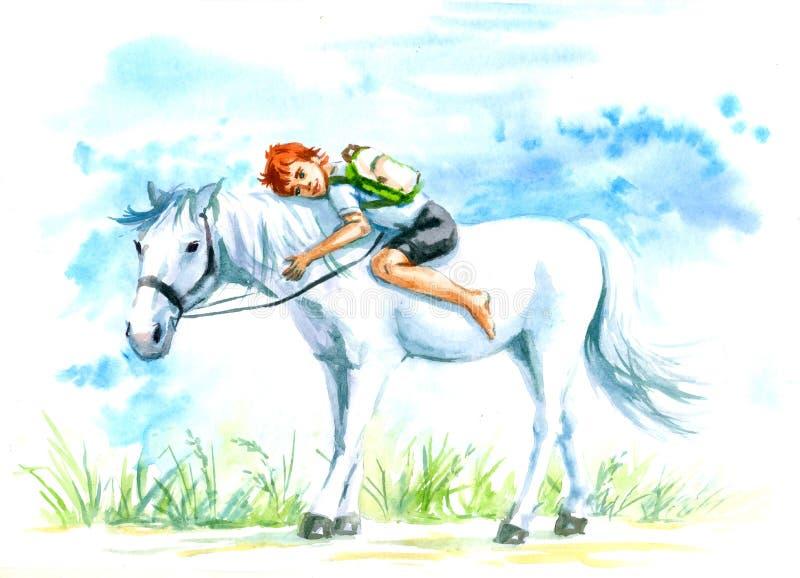 Białego konia i chłopiec akwarela ilustracji