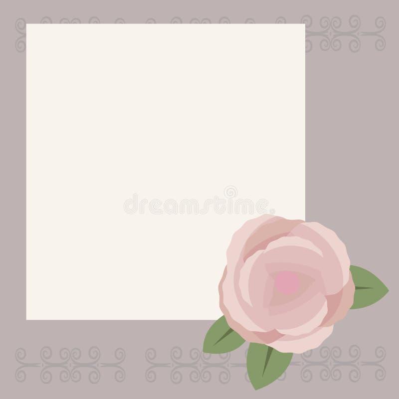 Białego kwadrata prześcieradło dla pisać lub gratulacje na świetle - szary tło z wzorem, brown herbata wzrastał z zielonymi liśćm ilustracja wektor