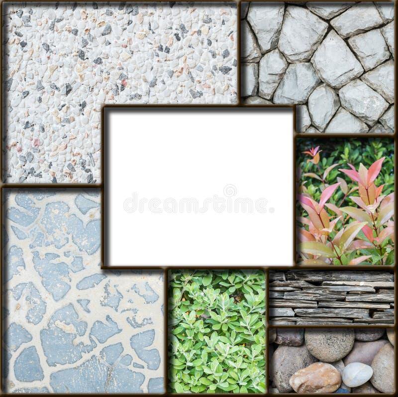 Białego kwadrata rama mieszanką marmur rośliny i kamienia tekstury tło ilustracja wektor