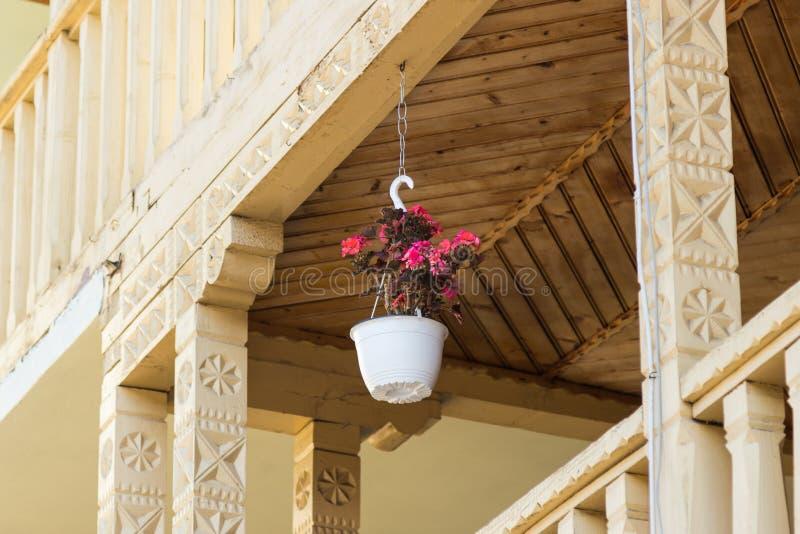 Białego kwiatu garnek z czerwonymi bodziszkami wiesza na dekoracyjnym balkonie obraz stock
