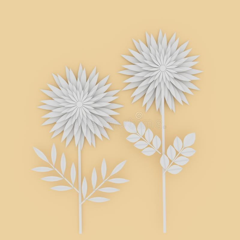 Białego kwiatu papier na żółtym tle w 3D renderingu royalty ilustracja