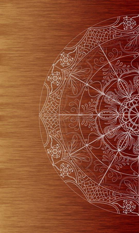 Białego mandala doodle sztuki brązu tekstury drewniany tło