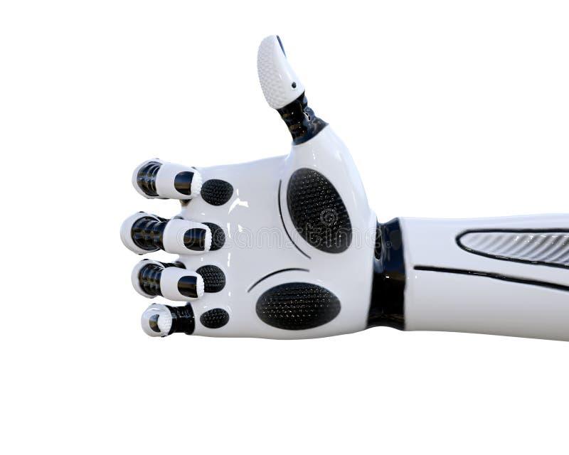 Białego metalu droid ręki gesty royalty ilustracja