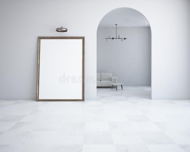 Białego minimalizmu żywy pokój, plakat wysklepiał drzwi royalty ilustracja