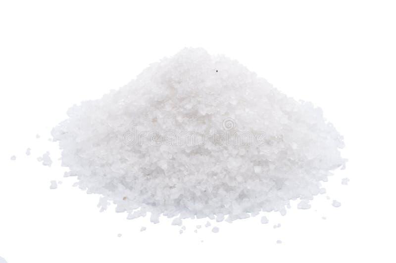 Białego morza sól odizolowywająca na białym tle fotografia stock