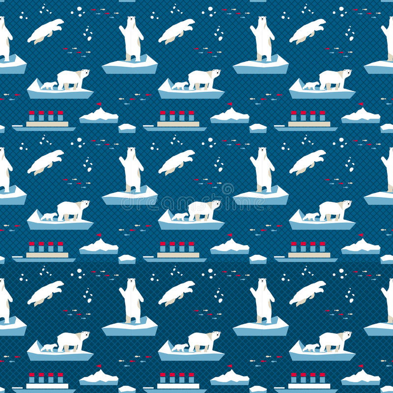Białego niedźwiedzia bezszwowy wzór royalty ilustracja