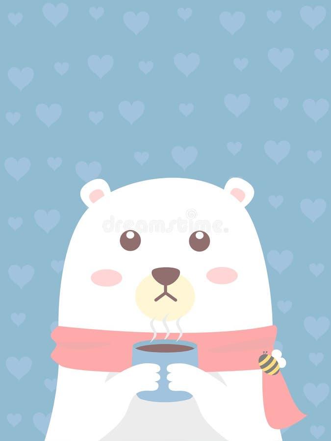 Białego niedźwiedzia chwyt filiżanka kawy ilustracja wektor