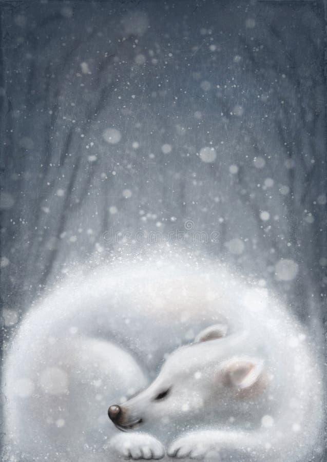 Białego niedźwiedzia spać royalty ilustracja