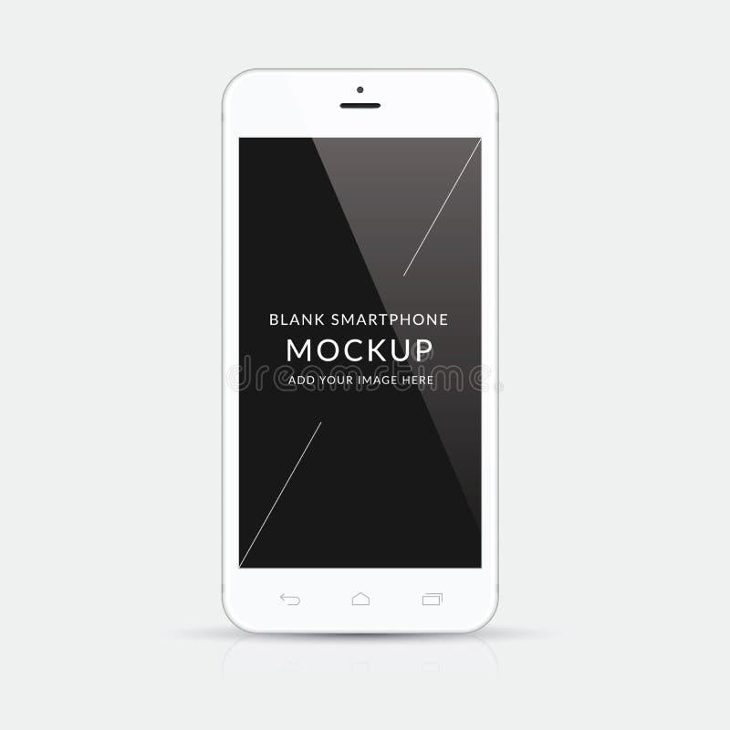 Białego nowożytnego smartphone mockup wektorowy ilustracyjny odosobnienie ilustracji