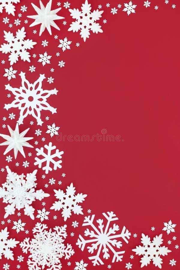 Białego płatka śniegu bożych narodzeń Abstrakcjonistyczna granica zdjęcie royalty free