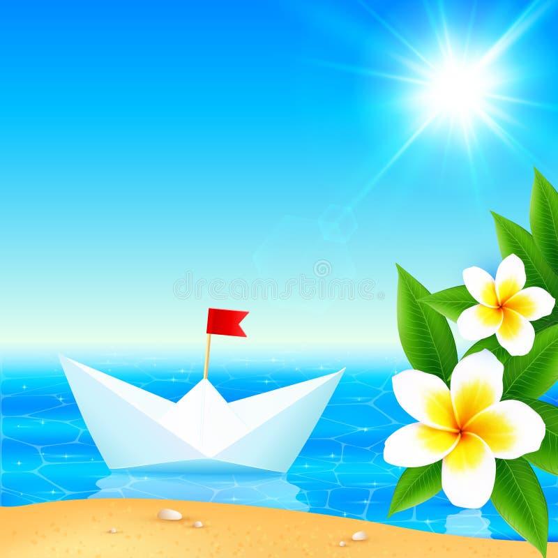Białego papieru łódkowata pobliska kwitnąca tropikalna wyspa royalty ilustracja