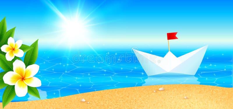 Białego papieru łódkowata pobliska plaża kwitnąć tropikalną wyspę, panoramiczny obrazek ilustracja wektor