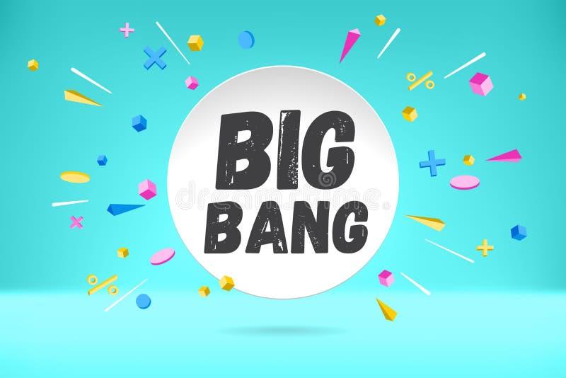 Białego papieru bąbla chmura z tekstem Big Bang dla emoci, motywacja, pozytywny projekt Plakat z obłoczną rozmową, tekst royalty ilustracja