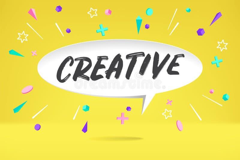Białego papieru bąbla chmura z tekstem Kreatywnie dla emoci, motywacja, pozytywny projekt Plakat z obłoczną rozmową, tekst royalty ilustracja