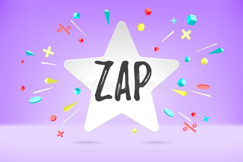 Białego papieru bąbla chmura z tekstem Zap dla emoci, motywacja pozytywny projekt Plakat z obłoczną rozmową, wiadomość tekstowa royalty ilustracja