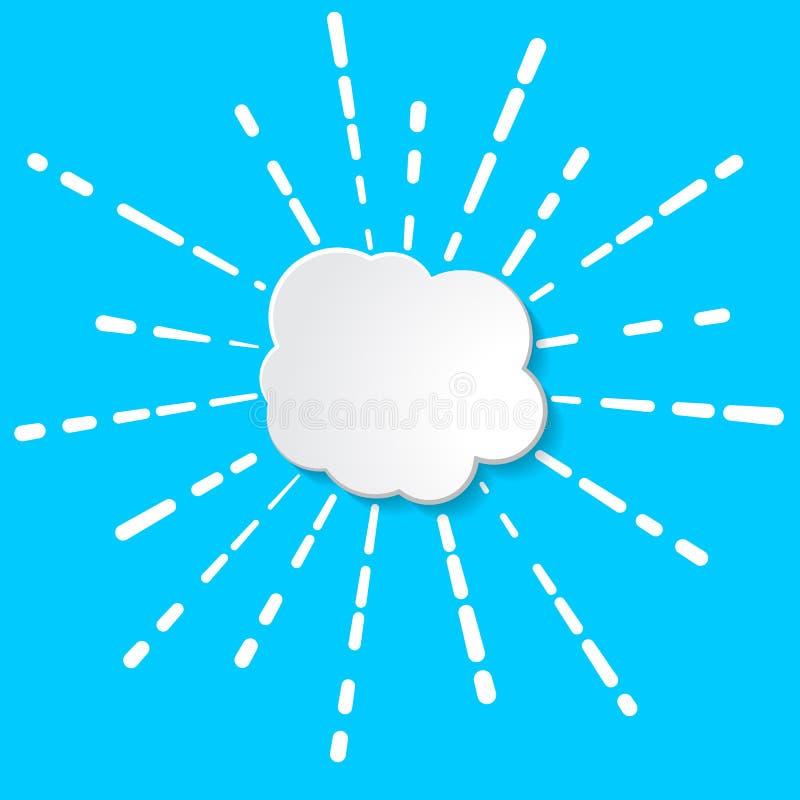 Białego papieru chmura z liniowymi promieniami fajerwerk, błysk lub słońce, il ilustracji