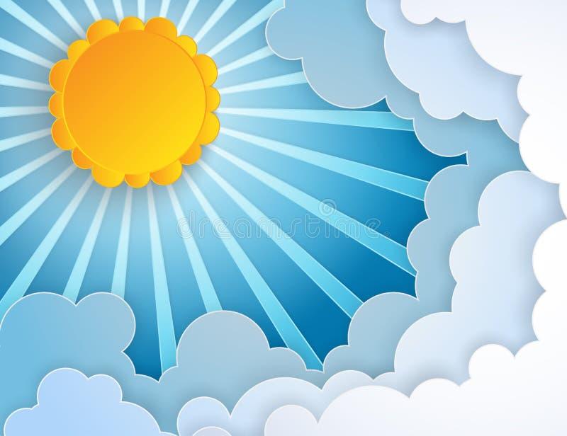 Białego papieru cięcie chmurnieje i słońce z promieniami w niebieskim niebie royalty ilustracja