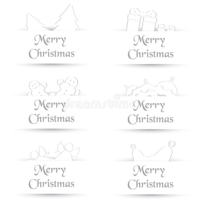 Białego papieru cienia proste wesoło kartki bożonarodzeniowa eps10 ilustracji