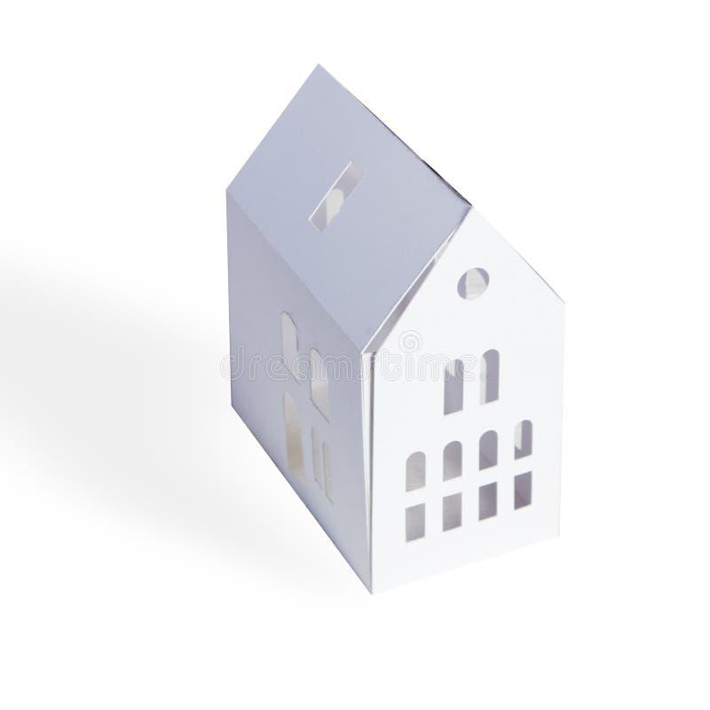 Białego papieru dom z okno na białym tle zdjęcia royalty free